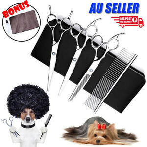 "7"" Professional Pet Dog Grooming Scissors Shear Hair Cutting Set Curved Tool Kit"
