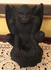 Signed Winged Gargoyle Statue Sculpture Candleholder