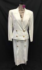 Alvin Bell New York Cream w/ Gold Button Jacket/Skirt Suit Sz 10 A115DM