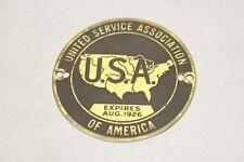 Original 1920's Car Truck United Service Association Brass Cowl Tag Ford Dodge