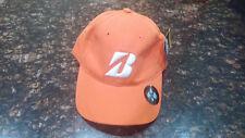 New Bridgestone Golf Cotton Nylon Water Shed Orange Adjustable Cap Hat Osfa