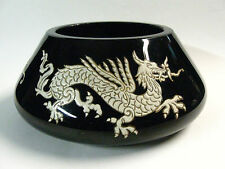 RARE Antique circa 1910 HEAVY, THICK Black Peking Glass Dragon Bowl, Exc. Cond!