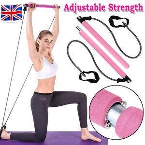 Portable Pilates Bar Kit Adjustable Exercise Stick With Resistance Band Yoga Gym