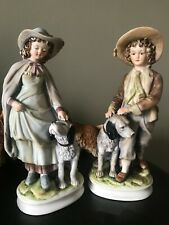 Sadek by Andrea: Boy & Girl with Dog Figurines: # 7154: 9 1/2 in Tall: Adorable