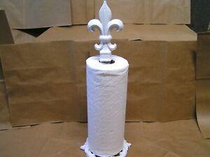 White Fleur de lis Finial Paper Towel Holder