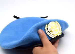 UN Peacekeeping Force Woolen Cap Hat UN BLUE BERET With UN Gold Badg 60CM