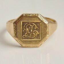 Vintage Art Deco 18ct Gold Signet Ring c1934; UK Ring Size 'M 1/2'
