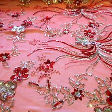 "Red Spider Floral Embroidery Silver Sequins 100% Polyester Mesh 54""w Fabric"