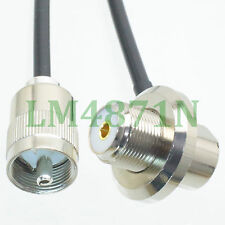 cable PL259 male solder to SO239 UHF female bulkhead 90° for ham radio RG58 10FT