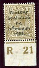Ireland 1922 KGV 1s bistre-brown Control R21 Plate 4 MLH. SG 15. Hib TC61.