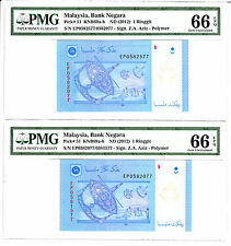 Malaysia Ringgit 2012 Mismatched Error 2 Notes Same Serial # PMG 66 EPQ GEM UNC
