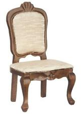 Dolls House Walnut Upholstered Side Chair Miniature Dining Room Furniture