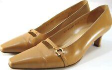 Salvatore Ferragamo Women Heels Size 7.5 B Goldish Tan 2 Inch Heels Made Italy