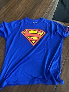 Under Armour Mens Blue Alter Ego Superman HeatGear Loose Fit T Shirt Large Blue