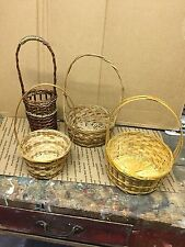 Collection of 4 Round Wicker Woven Baskets With Handles Vintage ? Low Ship