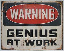 Novelty Tin Wall Sign Warning Genius At Work Great for Man Cave, Bar, Study