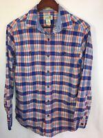 LL BEAN men's flannel shirt SMALL plaid checks blue red long sleeve