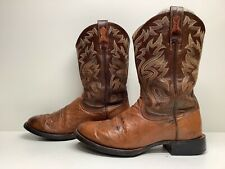 Vtg Mens Ariat Cowboy Smooth Ostrich Skin Brown Boots Size 8 D