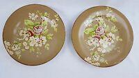 """Set of 2 WAVERLY Dessert Salad Plates TEA DANCE Brown Floral 8"""" Porcelain"""