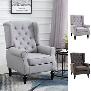 Home Furniture Accent Armchair Retro Tufted Club Wood Fabric