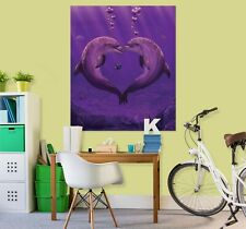3D Caring Dolphin Sea D162 Wall Stickers Wall Mural Decals Vincent Angelia