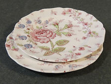 2 Johnson Brothers Rose Chintz Bread & Butter Dessert Plates Red Backstamp EUC