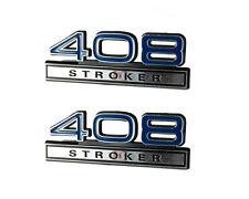 """408 6.7 Liter Stroker Engine Emblems Badge Logo in Blue & Chrome - 4"""" Long Pair"""