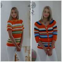 KNITTING PATTERN Ladies Short& 3/4 Sleeve Striped Jumper/Cardigan Bamboo DK 4836