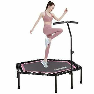 """48"""" Mini Fitness Trampoline with Hand Rail and Pink Boarder"""