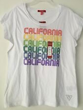 GUESS WOMEN'S ROUND NECK WHITE WITH CALIFORNIA REPEAT DESIGN T-SHIRT SIZE L/G