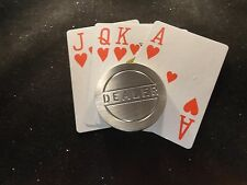 "CARD HOLDER ROUND STAINLESS WEIGHT POKER PLAYING CARD  "" DEALER "" CNC-HEAVY"
