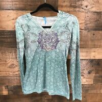 Kuhl Women's Turquoise Patterned Mandala Long Sleeve Hooded Tshirt Size XS