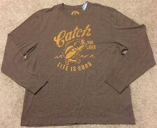 Life Is Good Mens T Shirt Long Sleeve Graphic Catch You Later Bass Fish Brown XL