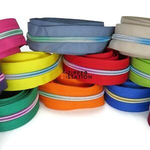 Rainbow Continuous #5 Nylon Coil Zip - 17 colours, craft zipper, cases, bags