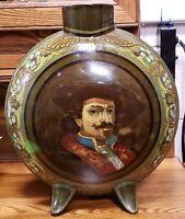 Ca. 1883 English Doulton Lambeth Faience Porcelain Rembrandt Portrait Moon Flask