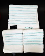 NEW NAUTICA 3 PC SET FOOTROPE WHITE+TEAL GREEN STRIPED 1 BATH,2 HAND TOWEL
