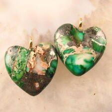 2Pcs 20x20x6mm Green Sea Sediment Jasper & Pyrite Heart Pendant Bead X30720