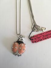 Betsey Johnson PEACH & Crystal Beatles Pendant Sweater chain necklace-BJ6005