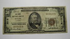 $50 1929 Elgin Illinois IL National Currency Bank Note Bill Charter #2016 FINE!