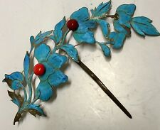 19th Century Kingfisher Feather Coral Flowers Pin Antique Chinese Tian-Tsui