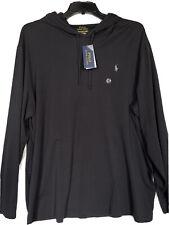 Polo Ralph Lauren Men's XXL Black Pullover Hoodie Pony Logo Jersey Hooded Shirt