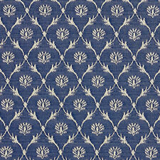 B636 Navy Blue, Floral Trellis Jacquard Upholstery Fabric By The Yard