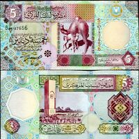 LIBYA 5 DINARS ND 2002 P 65 SIGN 4 UNC