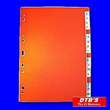 A-Z INDEX 20-PART CARD SUBJECT DIVIDERS RING BINDER LEVER ARCH FILE INDICES