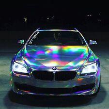 Vvivid 6ft x 5ft Silver Rainbow Hologram Chrome Vinyl Car Wrap Decal