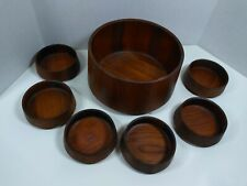 vintage Skjode Skjern Danmark mid century teak wood 7 bowl set 1 large 6 small