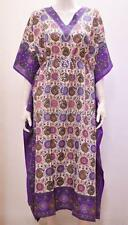 PLUS SIZE ETHNIC PAISLEY FLORAL ABSTRACT PRINT LONG KAFTAN DRESS PURPLE 24 26 28