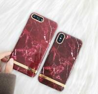 Luxury Glossy Marble Hard PC Wine Red Phone Case Cover For iphone X 6s 7 8 PLUS