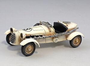 9973026 Nostalgisches Modell-Auto Oldtimer Cabrio weiß Rennwagen 10x15x28cm