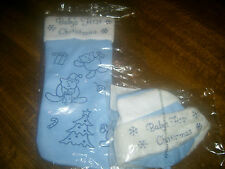 NEW BABY FIRST CHRISTMAS HAT/STOCKING BLUE NOVELTY FLUFFY ONE SIZE FREE P&P